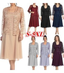 women fashion long sleeve o neck lace patchwork pure color elegant chiffon dress