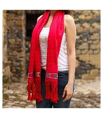 cotton scarf, 'vivacious in red' (mexico)