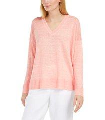 eileen fisher v-neck linen sweater, regular & petite sizes