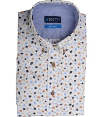bos bright blue blue overhemd wit met print 20107wo20bo/830 camel bruin