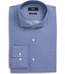 men's big & tall boss slim fit print dress shirt, size 18 - blue