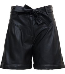 leatheret black shorts with belt liu-jo