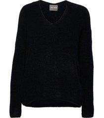 thora v-neck knit gebreide trui zwart mos mosh
