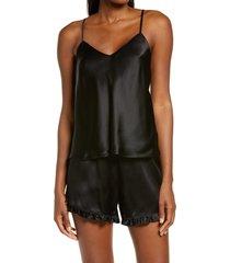women's nordstrom short silk pajamas, size large - black