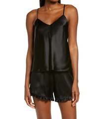 women's nordstrom short silk pajamas, size x-large - black
