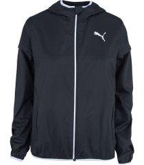 jaqueta corta-vento com capuz puma essentials solid windbreaker - feminina - preto