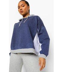 plus oversized colour block hoodie, navy