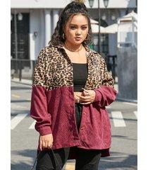 yoins plus talla classic cuello botón de patchwork de leopardo diseño abrigo de manga larga
