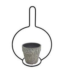 cachepot de cerâmica imitando cimento e metal p