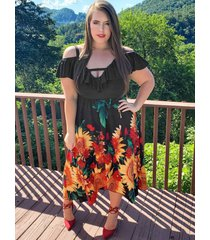 plus size open shoulder sunflower flounce tulip hem dress
