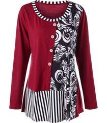 plus size striped bandana floral top