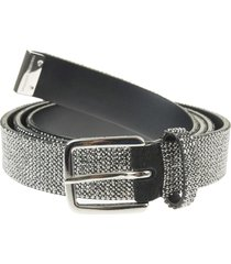 leather thin belt with silver crystals