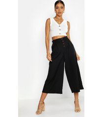 high waist tailored button front wide leg culottes, black