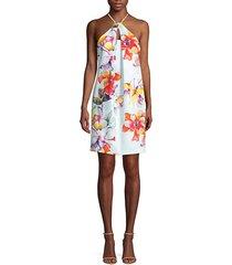 bold floral halterneck dress
