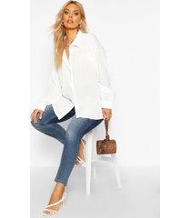 plus shirred oversized shirt, white