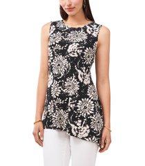 women's vince camuto floral asymmetric hem tunic blouse, size large - black
