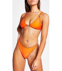 river island womens red metallic trim high leg bikini bottoms