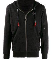 philipp plein scarface zip front hoodie - black