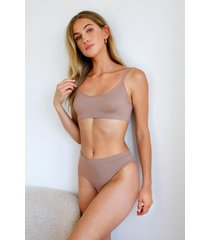 womens seamless nights scoop neck bralette - mocha
