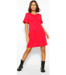 basic gesmokte jurk met franjes mouwen, rood