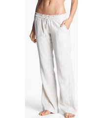 women's roxy oceanside linen blend beach pants, size x-small - beige