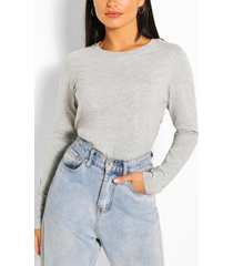 crew neeck long sleeve top, grey marl