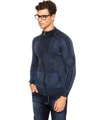 jaqueta officina do tricô azul - kanui