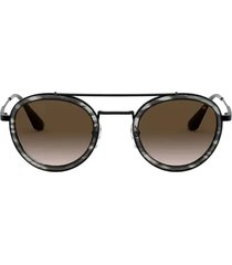 prada prada pr 56xs stripped grey / gunmetal sunglasses