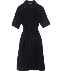 stitched detail dress in navy