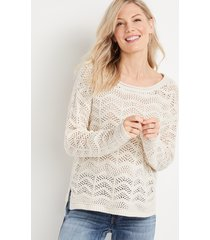 maurices womens open stitched pullover beige