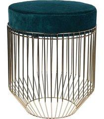 pufa stołek z tapicerowanym siedziskiem morski