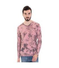 camiseta konciny manga longa  malha canelada 3252 rosa