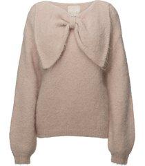 hairy knit bow jumper gebreide trui roze by ti mo