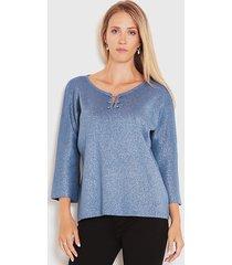 sweater wados tres cuartos azul - calce regular