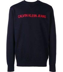 calvin klein jeans logo stitched sweatshirt - blue
