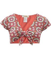bardot kaleidoscope fuxia-print bikini top