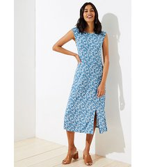 loft floral cap sleeve midi dress
