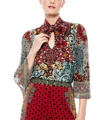 women's alice + olivia elaina tie neck paisley blouse