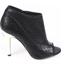chanel perforated leather open toe booties