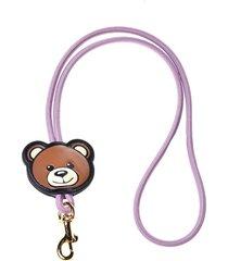 moschino teddy elastic lanyard key chain - pink