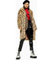leopard print faux fur coat - multi