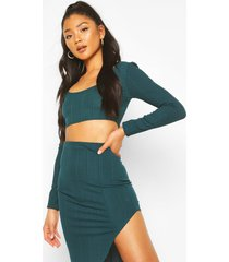 long sleeve bandage top and skirt co-ord set, teal