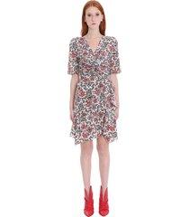 isabel marant arodie dress in red silk