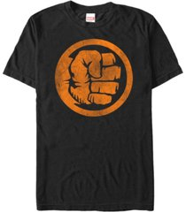 marvel men's hulk distressed orange fist logo short sleeve t-shirt