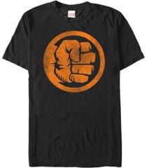 marvel men's hulk distressed orange fist logo short sleeve t-shirt
