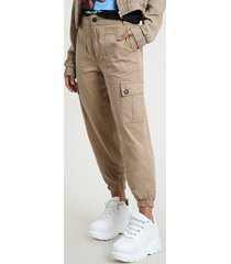 calça de sarja feminina jogger cargo cintura alta kaki