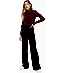 black knitted ribbed pants - black