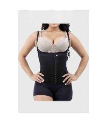 cinta modeladora corselet redutora 12 barbatanas preto