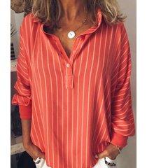 camicetta casual da donna con risvolto a righe a maniche lunghe