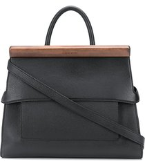 calicanto wooden-block leather tote bag - black